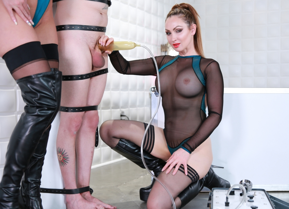 Mistress milking handjob, cuffed butt play cum eating miss abbi